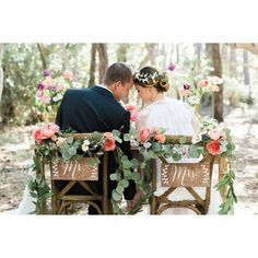 Mr and Mrs Chair Signs Wooden Wedding Signs Wood ($27) ❤ liked on Polyvore featuring home, home decor and wall art