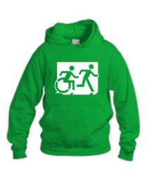 Accessible Means of Egress Icon (Running Man and Wheelie Man Right Hand) Wheelchair Exit Sign Design Sign Design, Sweatshirts, Cart, Cotton, Exit Sign, Signs, Running Man, Hall Runner, Hoodies