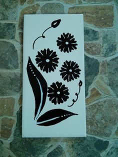 Tile Painting- flowers on tiles