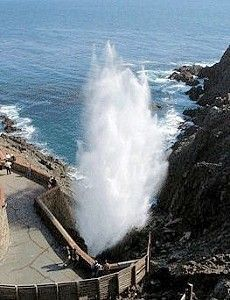 La Bufadora, a natural sea geyser located near Ensenada, Mexico puts on a highly dramatic show. One of the excursions on Carnival Cruises.