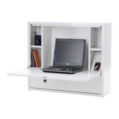 IKEA PS laptop workstation - also great as a closet vanity...just put a mirror in the back and use the storage spaces to hold jewelry and makeup.