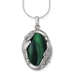Malachite and Antiqued Sterling Pendant 24in - Earrings, Necklaces, Rings, Bracelets, Pendants and More - Unique Jewelry at Affordable Price...