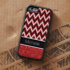 Custom Red Glitter Chevron Xtreme iPhone 6 Case #iphone6 #chevron #glitter