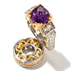 129-243 - Gems en Vogue 1.07ctw Amethyst & White Sapphire Ring Drop Charm