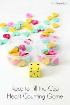 Race to fill the cup counting game with mini erasers. Valentine's Day game for preschoolers.