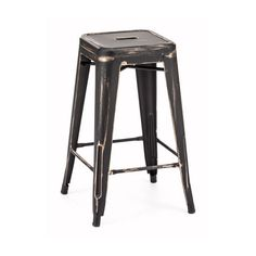 Enchant extra guests with this gorgeous spare seating. Hints of antiqued gold peek out from the distressed matte black finish. The black steel frame is extra sturdy for years of comfort for everyone.  Find the Black Magic Barstool - Set of 2, as seen in the Urban Chic Loft Collection at http://dotandbo.com/collections/trending-urban-chic-loft?utm_source=pinterest&utm_medium=organic&db_sku=90563