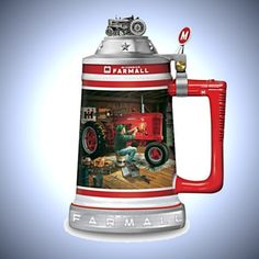 """""""Farmall Commemorative Stein"""" With Charles Freitag Art Farmall Tractors, Red Tractor, Antique Tractors, Beer Mugs, French Press, Home Art, Coffee Maker, Porcelain, Ceramics"""