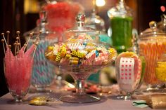 Candy bar. This can be a fun and inexpensive way to add color and variety to the dessert table, and kids would love it.