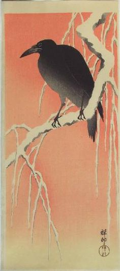 """KOSON -- """"Crow on Snow-covered Willow at Dawn"""""""