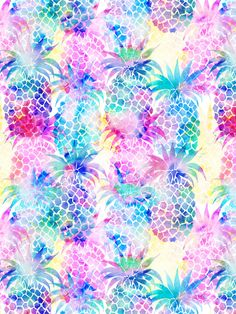 Pineapple Dream Art Print By schatziBrown #tropical #pattern #watercolor #pineapple