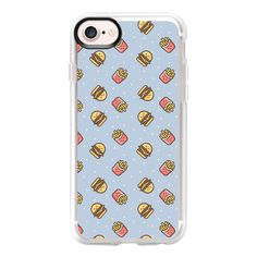Cute pink brown blue funny fries burger food pattern - iPhone 7 Case... ($39) ❤ liked on Polyvore featuring accessories, tech accessories, iphone case, pink iphone case, clear iphone case, iphone cases, pattern iphone case and apple iphone case