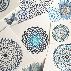 Blue watercolor mandalas. C Calderas