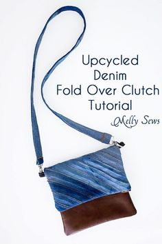 Sew a DIY fold over clutch using recycled denim and leather or faux leather with an optional cross body strap
