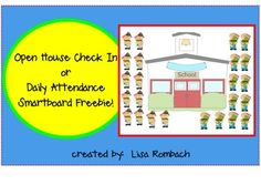 Open House or Daily Attendance SmartBoard file (.notebook file) ***FREE***