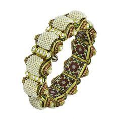 Gajra Bracelet with pearls and uncut diamonds.beautiful enamel work on the inside