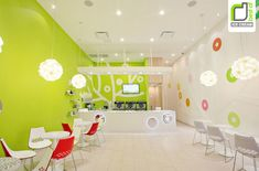 Decorating, Cool Interior Design Of An Ice Cream Shop With Green Wall Paint Ideas And Small Round Table Sets: Best Ice Cream Shop Design Ideas
