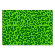 Neon green leopard print pattern table cards