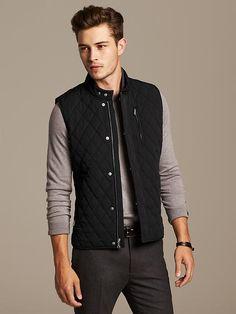 Black Quilted Puffer Vest Product Image #BananaRepublic