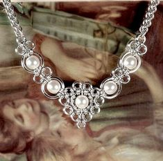 chain maille and pearl necklace