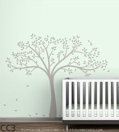 Fall Tree Wall Decal White tree decal on blue por LeoLittleLion