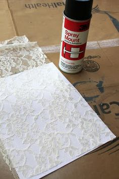 glue lace to surface (jar, lampshade) then spray paint the whole thing white for texture!