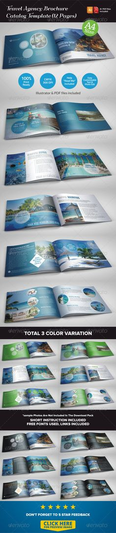 Travel Agency Brochure Catalog Template (12 Pages)
