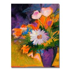 'Purple Vase' by Sheila Golden Painting Print on Wrapped Canvas