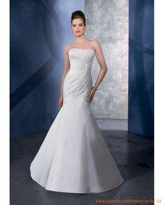 Brautkleider aus Satin schulterfreies Korsett mit Meerjungfrausrock und Kapelleschleppe mit asymmetrischen Falten