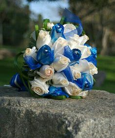 Cream Roses, Blue Roses, Green Lily Grass Loops Wedding Bouquet | Photo Courtesy Of J. Philipson Flickr ~~