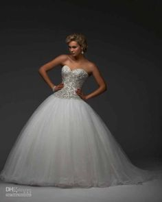 Princess wedding dress with sequin belt