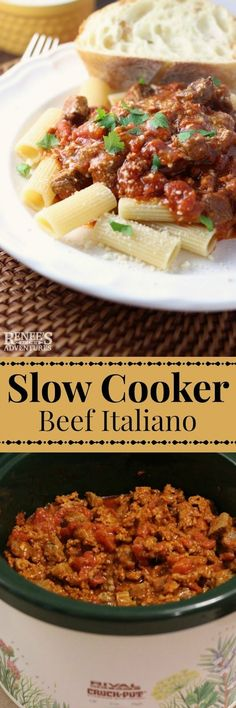 Slow Cooker Beef Italiano | Renee's Kitchen Adventures - easy slow cooker dinner recipe for lean beef and pasta with tomatoes