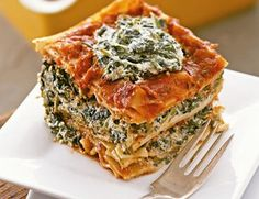 "Vegan Tofu Spinach Lasagna. Erase that vision of a bland block of tofu. This is a light, low-calorie lasagna, that will not leave you feeling bloated. The use of tofu ""ricotta"" in this lasagna, rather than the traditional items, brings out the flavor of the spinach. DELISH!!"