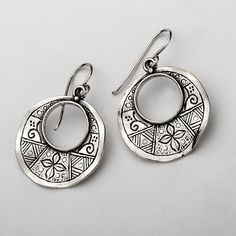 Sterling Silver Open Circle With Geometrical Design Earrins