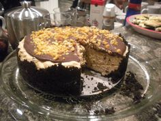 Carefully following a recipe I found on Pinterest, I made this divinely delicious torte. Chocolate Peanut Butter...mmmmm