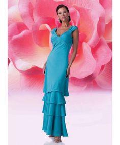 A-Line V-Neck No Waist/Princess Seams Long Chiffon Tank Blue Mother of The Bride Dress