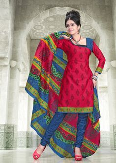 Red and blue shaded floral printed #cottonsalwarkameez having long pure cotton floral printed dupatta.