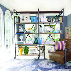 Shop Handy Living Ludlow Wood and Metal Shelving Wall Unit - Overstock - 9067189 Industrial Shelving Units, Metal Shelves, Modern Industrial, Shelving Decor, Metal Bookcase, Steel Shelving, Deep Shelves, Modern Bookcase, Industrial Pipe