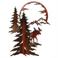 "Moon River Moose Wall Hanging - A Black Forest Decor Exclusive - A shimmering color wash finish highlights the stunning laser-cut cold-rolled steel moose scene Moon River Moose Wall Hanging. Measures x ½""D x ~ Metal Tree Wall Art, Hanging Wall Art, Metal Art, Wood Art, Wall Hangings, Moose Decor, Black Forest Decor, Wood Burning Patterns, Scroll Saw Patterns"