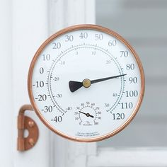 Copper Dial Thermometer in Garden+Outdoor OUTDOOR LIVING Outdoor Décor Hooks+Utility at Terrain