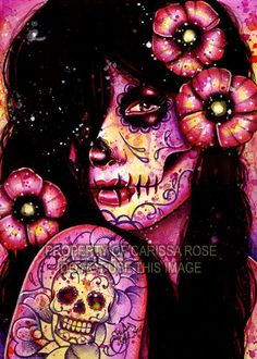 I'll Never Forget Art Print - Dia De Los Muertos Sugar Skull Girl Portrait By Carissa Rose