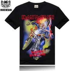 f9d1499c Rocksir 2015 fashion Drop dead Iron Maiden Printing New Men T shirt Rock  Band More Colors