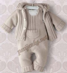 Baby Knitting Patterns Sweaters Knitted romper with jacket. Romper is in step with press studs. Baby Boy Knitting Patterns, Knitting For Kids, Baby Patterns, Knitting Ideas, Crochet Patterns, Knitted Baby Clothes, Knitted Romper, Baby Knits, Baby Pants Pattern