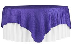"""Accordion Crinkle Taffeta Table Overlay Topper 85""""x85"""" Square - Purple ● As Low as $9.99 ● Available from www.cvlinens.com"""