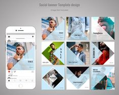 Fashion Social Media Post Template. Instagram Design, Instagram Feed Layout, Instagram Collage, Instagram Banner, Instagram Grid, Social Media Branding, Social Media Design, Creative Poster Design, Social Media Template