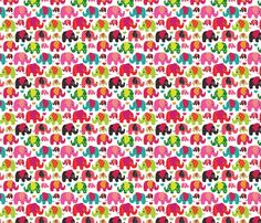 Cute Retro Kids Elephant Pattern Fabric by littlesmilemakers
