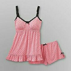 Joe Boxer- -Women's Babydoll Pajamas - Polka Dots have these and a couple more from joe,,love them Cute Pajamas, Flannel Pajamas, Pyjamas, Lingerie Outfits, Lingerie Sleepwear, Sleepwear Women, Satin Pyjama Set, Pajama Set, Nighty For Honeymoon