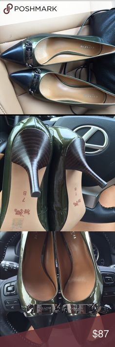 New COACH pumps dark dirty green and black 7BM Classic and chic super comfy Coach leather pumps. Heel is about 3 inches size 7 Coach Shoes Heels