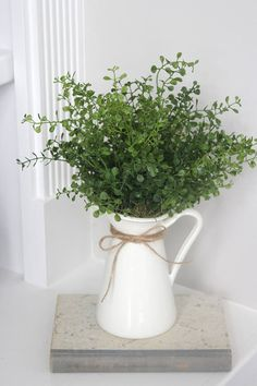 Reserved for Teri~Farmhouse Decor~Faux Greenery~Small Greenery Arrangement~Mini . Reserved for Teri~Farmhouse Decor~Faux Greenery~Small Greenery Arrangement~Mini Eucalyptus in a White Pitcher - Country Farmhouse Decor, Farmhouse Style Kitchen, Modern Farmhouse Kitchens, City Farmhouse, Coastal Farmhouse, Diys Room Decor, Living Room Decor, Decor Ideas, Decorating Ideas