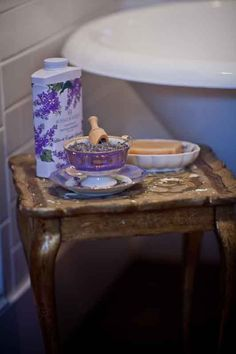 lavender-cup by the bath tub