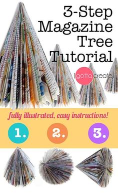 Make beautiful #holiday trees out of magazines in 3 simple steps! | Tutorial at I Gotta Create! This is a fun project to do with the family,with friends at a holiday craft party, or simply as you sit sipping eggnog or hot chocolate and watching holiday movies.These magazine trees are easy to make and I'm offering you beautiful,full-color, fully illustrated instructions. Book Christmas Tree, Christmas Tree Crafts, Holiday Tree, Christmas Projects, Holiday Crafts, Christmas Decorations, Book Tree, Christmas Layout, Xmas Tree